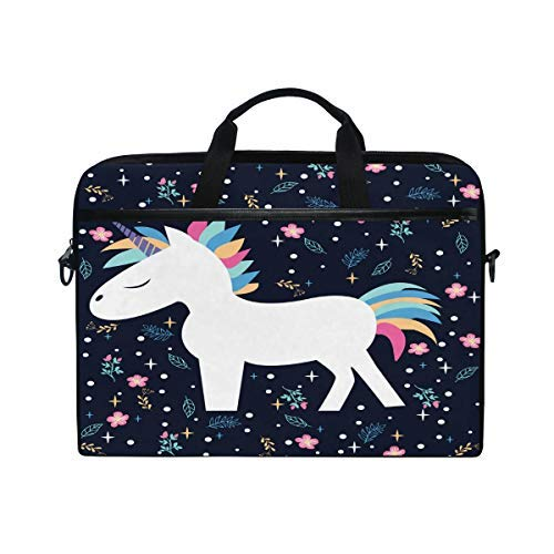 MRMIAN Funny Magic Unicorn Rainbow Color 15 inch Laptop Case Shoulder Bag Crossbody Briefcase Messenger Sleeve for Women Men Girls Boys with Shoulder Strap Handle, Back to School Gifts for Her Him
