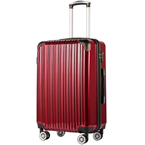 COOLIFE Suitcase Trolley Carry On Hand Cabin Luggage Hard Shell Travel Bag Lightweight 2 Year Warranty Durable 4 Spinner Wheels(Wine Red, L(78cm 99L))