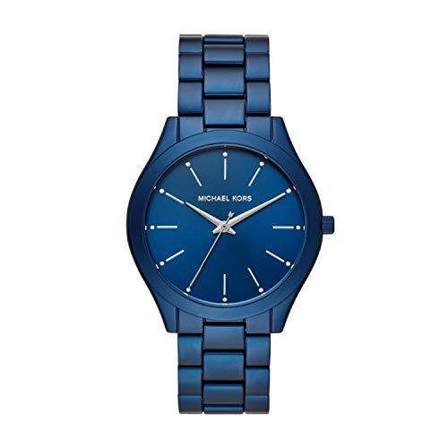 Michael Kors Women's Slim Runway Quartz Watch with Metal Strap, Blue, 20 (Model: MK4503)