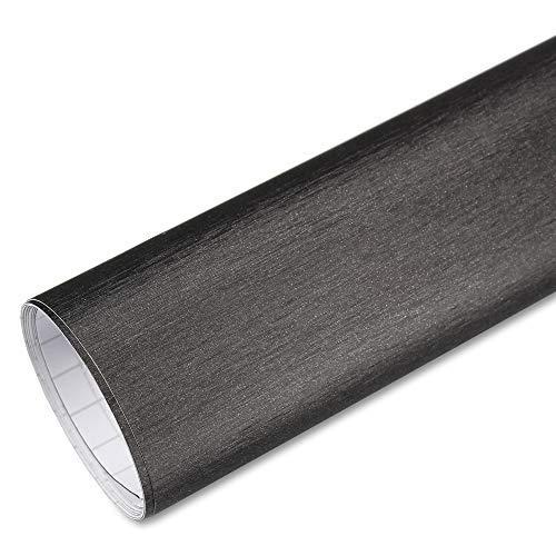 Rapid Teck® 5,26€/m² Premium – Aluminium Alu gebürstet Titan Grau 2m x 1,52m Auto Folie Blasenfrei mit Luftkanälen für Auto Folierung und 3D bekleben in Matt Glanz und Carbon Autofolie