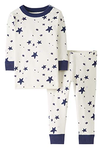 Moon and Back by Hanna Andersson Unisex Baby Schlafanzug-Set 2-teilig, Navy Star, 4T
