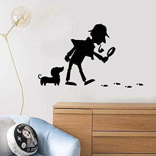 Tianpengyuanshuai Cartoon Detective Dog Footprint Aufkleber Vinyl Wandtattoo Baby Boy Wandaufkleber Dekoration-30X50cm