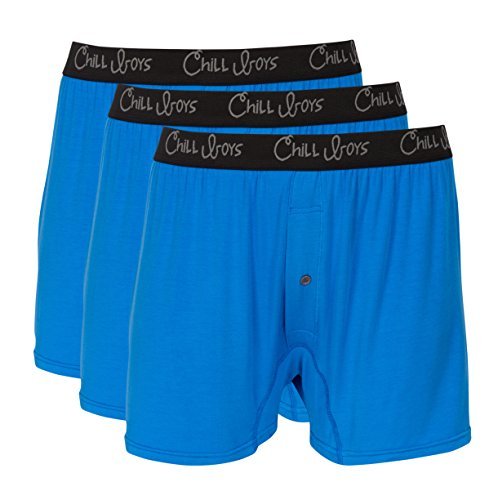 Chill Boys Soft Bamboo Mens Boxers 3 Pack - Cool, Comfortable Bamboo Underwear (XXL, Bamboo Blue)