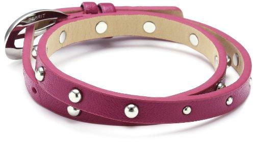 Esprit Damen Armband Edelstahl Leder 38 cm pink ESBR11335E380