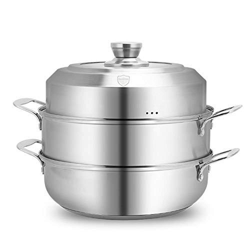 GCP Olla de Vapor, Juego de ollas de Cocina de Acero Inoxidable, Olla de Cocina al Vapor, con Asas, Olla de inducción para cocinar en la Cocina, Dos Capas, 30 cm
