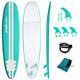 Wavestorm-15th Anniversary Edition Soft Top Foam 8ft Surfboard | for Beginners and All Levels | Includes Accessories | Leash and Multiple Fin Options, Turquoise pinline