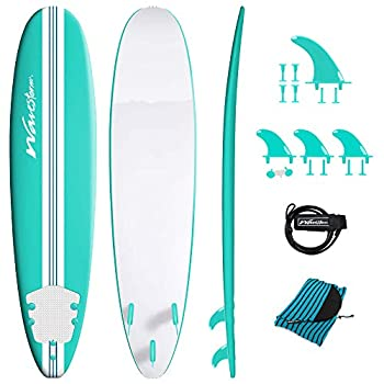 Wavestorm-15th Anniversary Edition Soft Top Foam 8ft Surfboard   for Beginners and All Levels   Includes Accessories   Leash and Multiple Fin Options Turquoise pinline