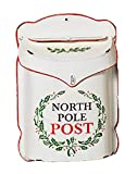 Letters to Santa North Pole Post Rustic Tin Holiday Mailbox (White)