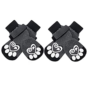 KOOLTAIL Double Side Anti-Slip Dog Socks – 2 Pairs Dog Paw Protector Traction Control Socks on Hardwood Floor Dog Boots Adjustable Dog Socks for Pet Indoor & Outdoor Walking