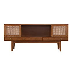 Amazon Southern Enterprises Simms Media Console in Brown with rattan cane