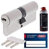 ToniTec Set aus ABUS Profilzylinder Schließzylinder EC660 Zylinderschloss mit 3 Schlüssel Größe 50 60 + ToniTec Pflegespray