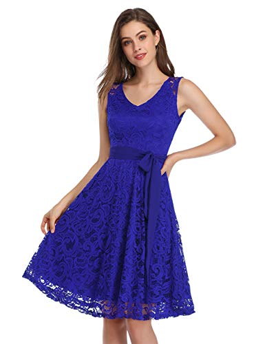 KOJOOIN Damen Vintage Kleid Brautjungfernkleid Knielang Spitzenkleid Cocktailkleid mit neum Gürtel Empire Blau L