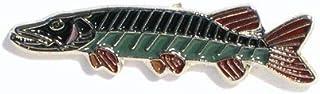 Spilla in metallo smaltato con pesce luccio (25 mm)
