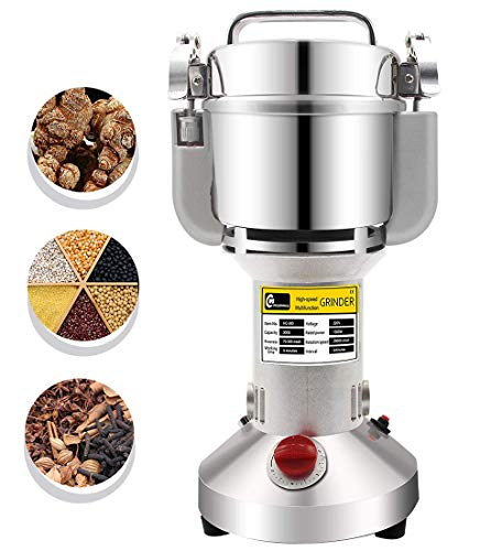 CGOLDENWALL 300g Electric Grain Mill Spice Herb Grinder Pulverizer Super Fine Powder Machine for Spice Herbs Grains Coffee Rice Corn Sesame Soybean Fish Feed Pepper Medicine 110V