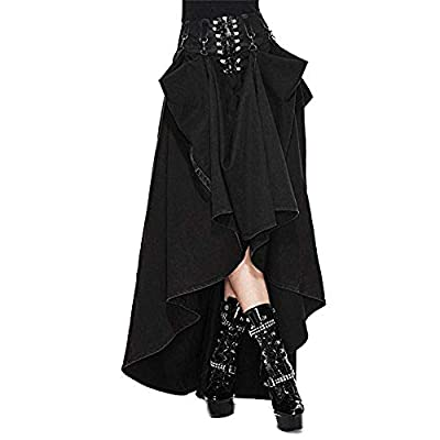Devil Fashion Women Tie Skirts Goth Steampunk Black Slim Cotton Long Skirts