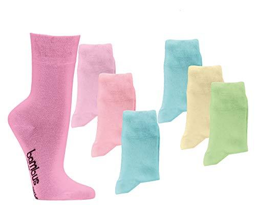 6 Paar Paar Bambus Socken pastell Bambussocken Softrand ohne Gummi Damen Mädchen W (39/42)