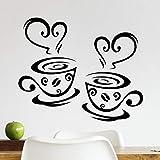 2 tazas de la pared de la cocina de la pared del arte de la decoración del azulejo de la decoración de azulejos de café de la oficina extraíble de la cita de la plantilla de transferencia