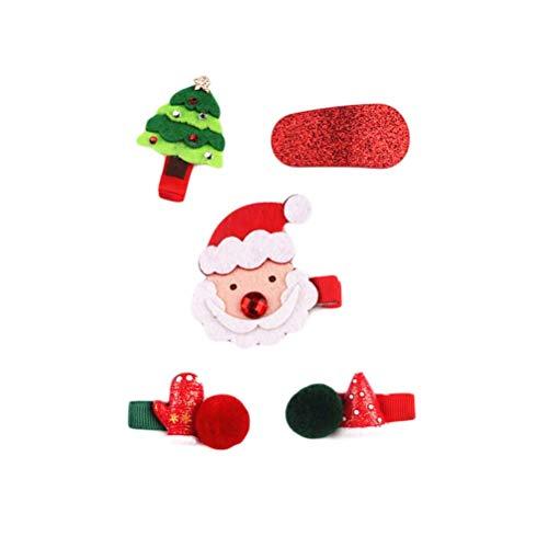BESTOYARD 5 piezas navideñas pinzas para el cabello pasadores pasadores fiesta de Navidad favorece el regalo para...