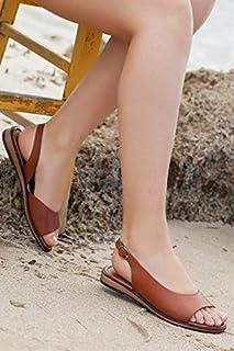 TARÇIN Hakiki Deri Günlük Kadın Sandalet Ayakkabı TRC70-0076