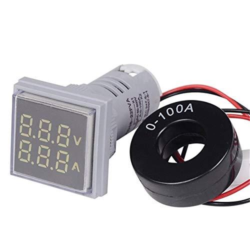 Nowakk LED Digital Voltmeter Amperemeter Hertz Meter Signalleuchten Spannung Strom Frequenz Combo Meter Anzeigetester - Weiß