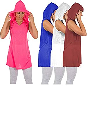 Sexy Basics Women's 4 Pack Everyday Flowy Active Workout Hoodie V Neck Tank Tops