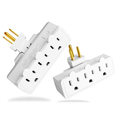 3 Outlet Swivel Wall Adapter, Grounded 180 Degree Electrical Plug Adapter, 3-Prong Outlet Tap, UL Listed, White, 2 PACK