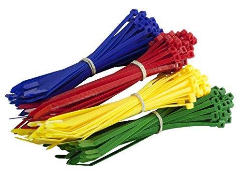 Gocableties Kabelbinder 200 mm x 4.8 mm, hochwertig, stabil, Nylon, Rot, Grün, Blau und Gelb, 200 Stück, mehrfarbig