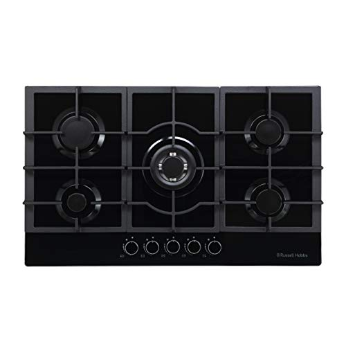 Russell Hobbs RH75GH602B Glass 5 Burner Gas Hob, 75 cm, Black