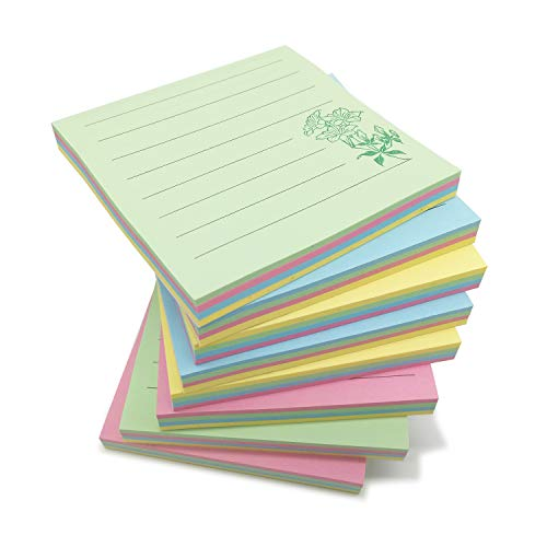 """ZGPEPEXIA Cute Sticky Notes with Lines 3""""×3"""" Mixed 4 Colors, 8 Pads/Pack, 80 Sheets/Pad, Muted Colored (Red Yellow Blue Green)"""