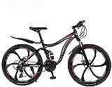 MJY Bicicleta de montaña de 26 pulgadas Bicicleta de acero de alto carbono Marco MTB Bicicletas Suspensión completa Ruedas de aleación de aluminio Doble freno de disco 5-29,21 velocidades