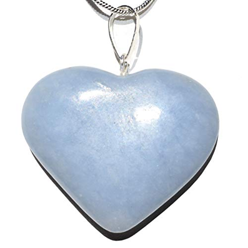 Perfect Pendant CHARGED Natural Angelite Crystal Heart Pendant + 20' Silver Chain + Selenite Heart Charging Crystal Included