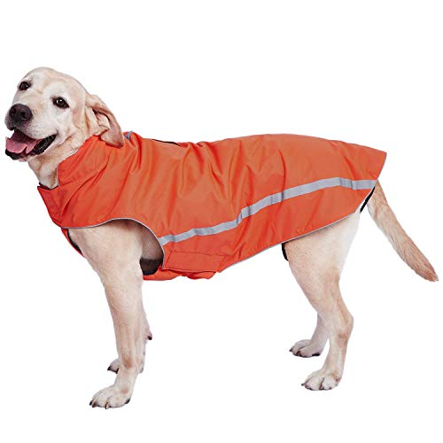 Dociote Wasserdichter Hundemantel Hundejacke mit Kragenloch Klettverschluss Fleece gefüttert reflektierender Wintermantel für mittelgroße große Hunde Orange 5XL