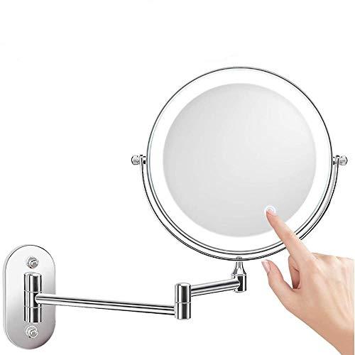 Mingstong Miroir de Maquillage-Miroir de Maquillage éclairé par LED à Montage Mural, pivotant à 360 ° et Extensible, alimenté par 4 Piles AAA (Non incluses), 3X