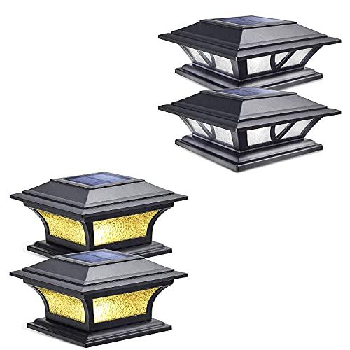 Siedinlar 2 Modes Solar Post Lights Outdoor Black (2 Pack) and 2 Modes Glass Solar Post Lights Black (2 Pack)