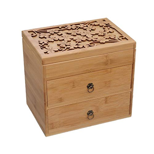 Weq Ätherisches Öl Aufbewahrungsbox große Kapazität vierblättriges Kleeblatt Carving ätherisches Öl Massivholzbox Bambus Aufbewahrungsbox ätherisches Öl Rack (Color : Brown, Size : 26 * 18 * 24.5CM)