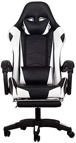 XiYou Gaming-Sitze, Computer-Stuhl Home-Office-Stuhl E-Sports Game Racing-Stuhl Liegestuhl-Stuhl mit roter Fußstütze (Weiß, Norma)