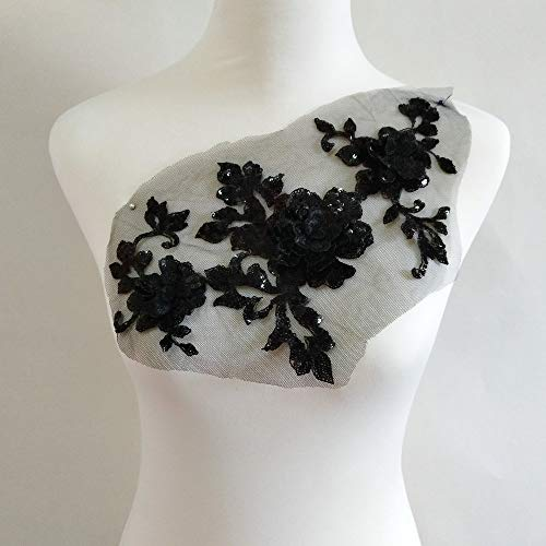3-D Embroidery Sequins Rose Decals Manual Sewing DIY Garment Decoration Accessories Dress/Performance Dress Design Accessories Process Decoration (Black)