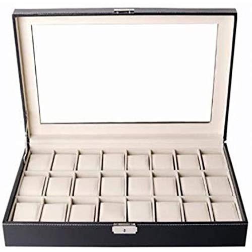 ANZRY Caja De Almacenamiento del Cuero De La PU De La Caja De Reloj De 24 Rejillas, Organizador del Caso De La Colección del Joyero