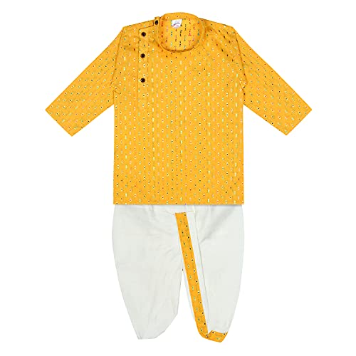 superminis Boy's Cotton Kurta with Dhoti - Golden Thread Work, Round Collar, Full Sleeves, Side Button Kurta Set for Ethnic Wear (Yellow+White, 6-12 Months)