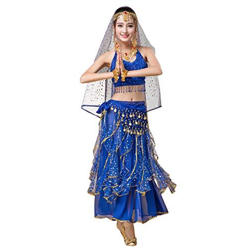 Ansemen Mujer Danza del Vientre Vestidos Indio Halloween Disfraz Gasa Falda Danza del Vientre 5 Piezas Trajes