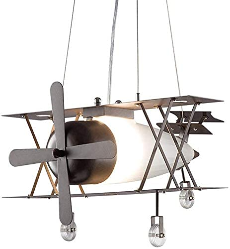 YAMMY Lámpara Colgante Kids Room Boy Vintage Industrial Chandelier Country Lamp Lámpara de Techo rústica White Glass Shade Retro Kids Lamp E27 Bedr (candelabros)