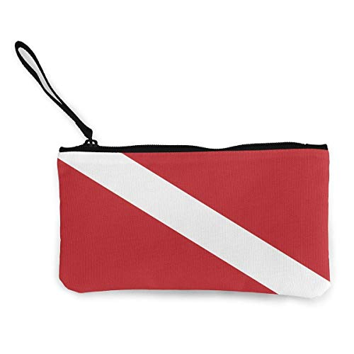 Yuanmeiju Unisex Dive Flag Wallet Coin Purse Canvas Zipper Credit Card Pouch Wallet for Daily Use