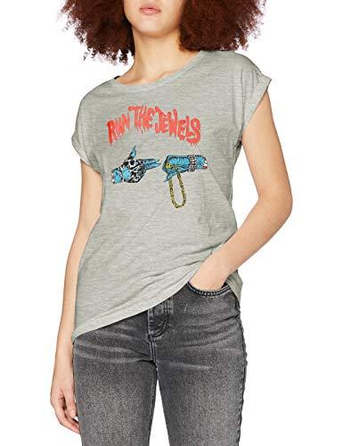 MERCHCODE Camiseta para Mujer Run The Jewels Goldchain, Gris Jaspeado, S