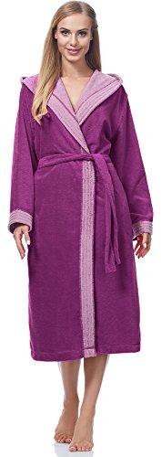 Merry Style Damen Bambusfasern Bademantel MSLL1001 (Violett/Rosa, S)