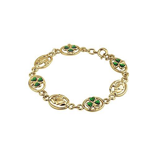 Tara Claddagh Bracelet & Shamrocks Gold Plated Made in Ireland