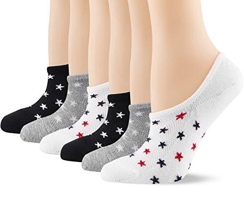 Baumwolle Sneaker Socken Damen Füßlinge 6 Paar Unsichtbare Kurze socken mit Silikonpad Anti-Rutsch