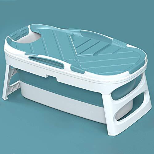 CHUTD Bañera Plegable para Adultos, bañera para el hogar, bañera portátil Disponible en Todas Las Estaciones, bañera Familiar portátil con Cubierta termostática Azul/Rosa, Azul