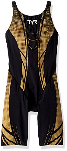 TYR AP12 Open Back Speed Suit, Black/Gold, 34L