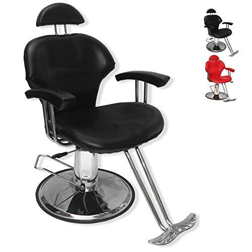 Sillon Silla Barbero Estetica Hidraulica Reclinable Salon E - Negro