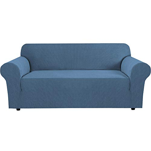 """H.VERSAILTEX Stretch Sofa Cover Couch Covers Sofa Covers for 3 Cushion Couch Sofa Protector Cover for Living Room, Small Checks Jacquard Soft Thick, Removable and Washable(72""""-96"""", Dusty Blue)"""